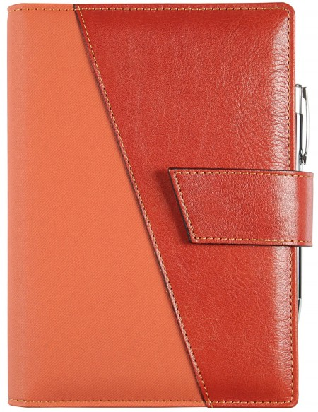 B-SIDE Leathertex Genuine leather daily Diary - cm 15x21/17x24 - English red