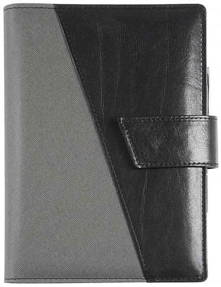 B-SIDE Leathertex Genuine leather daily Diary - cm 15x21/17x24 - Black