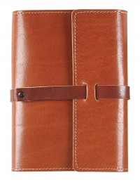VINTAGE Genuine Leather daily diary - cm 12x17 - buff/tobacco