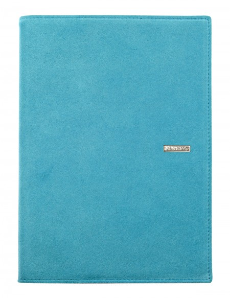 SUEDE leather diary - cm 15x21/17x24 - daily or weekly - sky blue