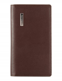 DIPLOMAT faux leather pocket weekly planner - cm 8x15 - dark brown