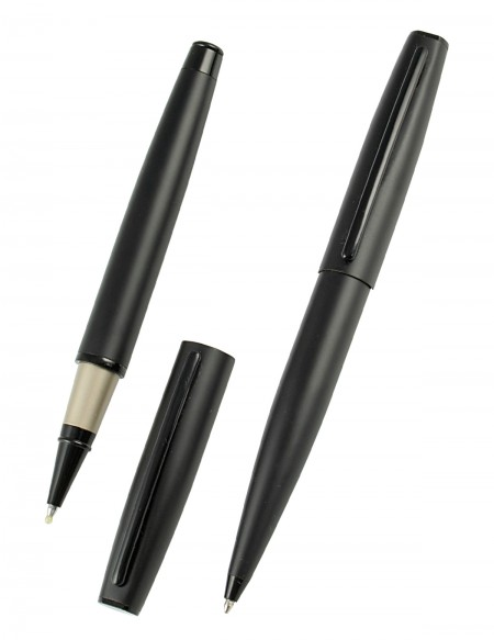 "Set con penna roller e penna a sfera ""My Time"" in metallo color nero con astuccio"