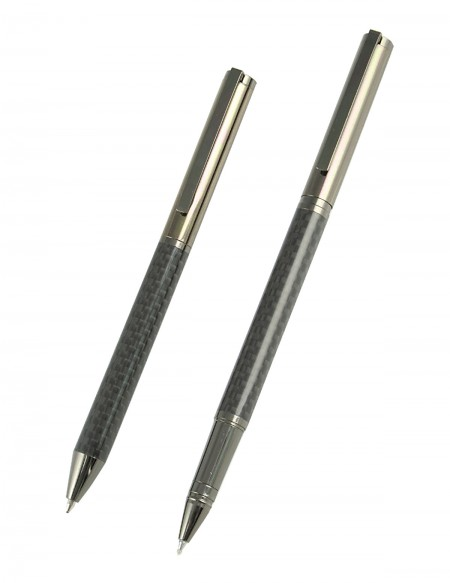 """Set composto da  penna roller e penna a sfera """"My Time"""" in fibra di carbonio con astuccio"""