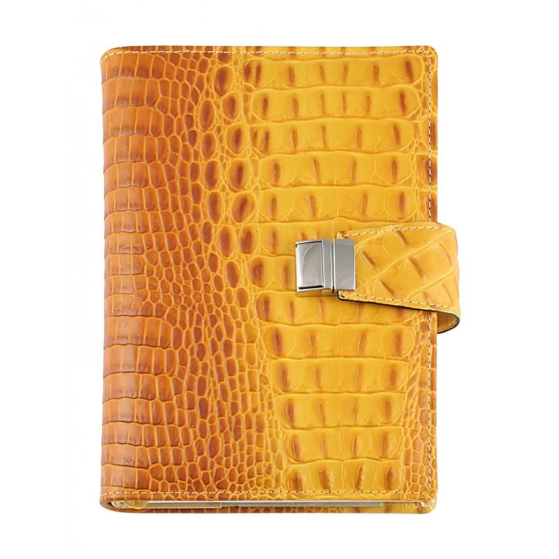 Agenda in vera pelle ''cocco'' giornaliera 15x21, 17x24 giallo