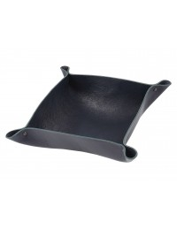 Genuine leather coin tray-blue