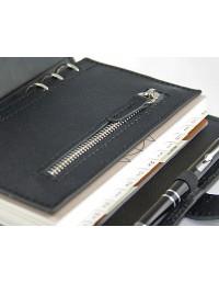 Saffiano Genuine leather Organizer - cm 13x19 - black