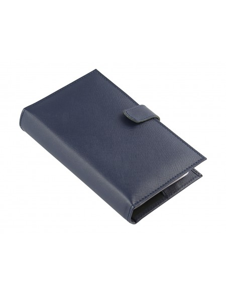 Saffiano Genuine leather Organizer - cm 13x19 - blue