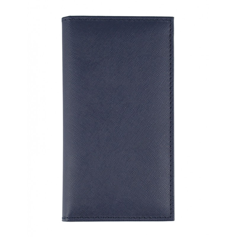 Saffiano Genuine Leather pocket diary - cm 8x16 - blue