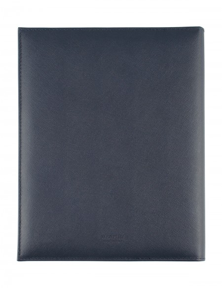 """Saffiano"" Genuine leather diary with weekly section - cm 21x27 - blue"