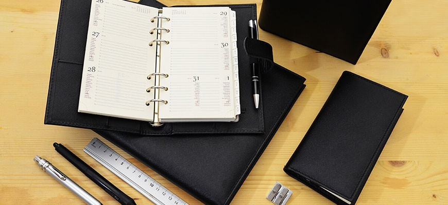 A wide selection of diaries divided according to the typology: leather diaries, eco-friendly leather diaries, suede diaries